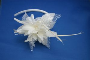 Ivory Flower Headband - Ivory Aliceband | Masks and Tiaras